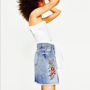 Zara Embroidered and Jeweled Floral Jean Skirt